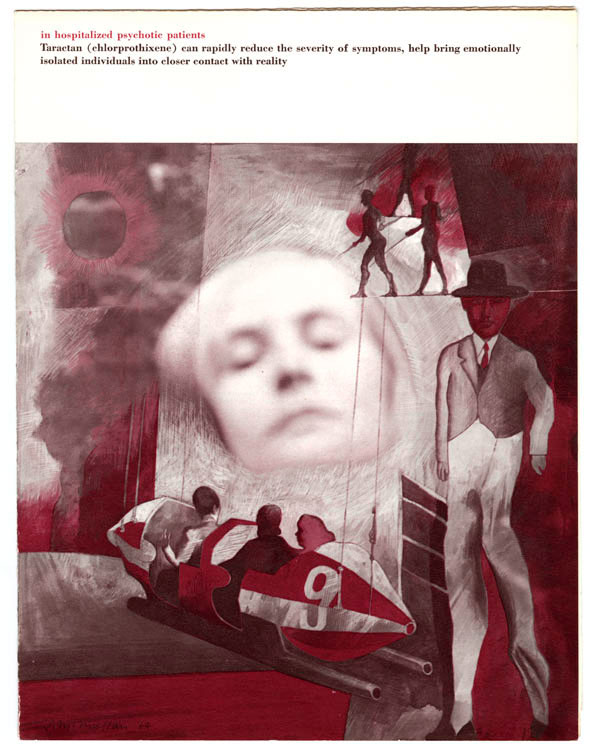 Collage of red and gray photography and illustration, including a woman's face in the distance and a male figure amid geometric shapes.