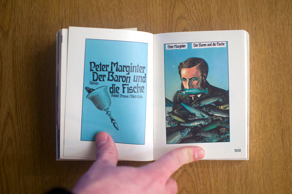 Flipbook opened to show a spread depicting two blue posters, left with text and a bell, right with a man surrounded by fish