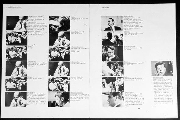 A scan of a magazine spread. The left page has two columns of 5 images, that are the same size, with descriptions next to each image. There are several images that are repeated on this page. The right page has a column of 5 images with description to each image and on the mid-lower right is an image of JFK with a description below it.