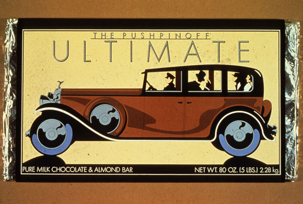 Chocolate bar with illustration of a brown Rolls Royce against a yellow background