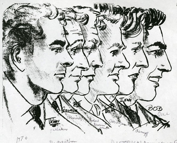 A drawing of six men's facial profiles, looking towards the right.