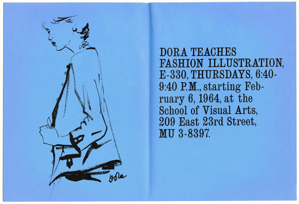 An Illustration of Black ink against blue background of a female model in a jacket next to a block of text