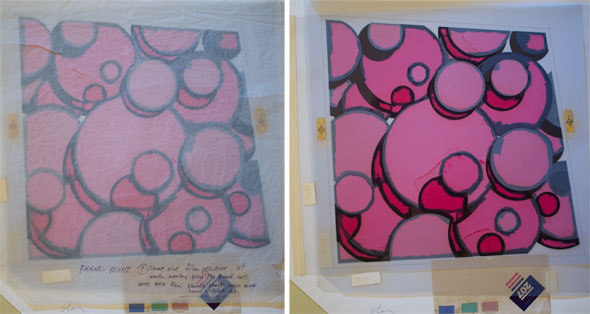 Spread of two photos of the same painting, a collection of pink circles; left painting is covered in a translucent sheet
