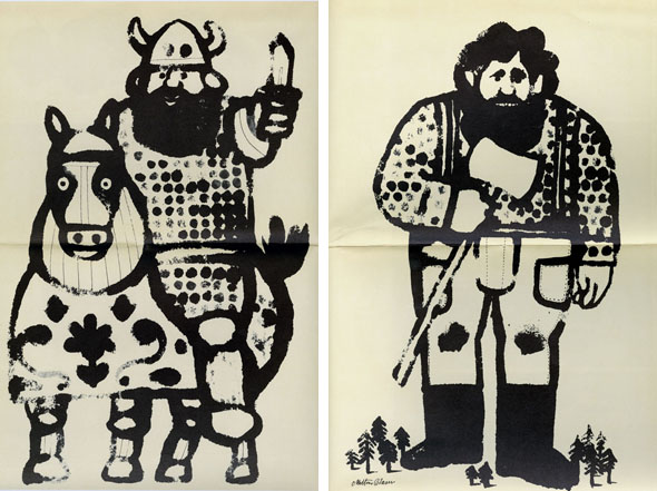 Two drawings side by side of similar-looking, large cartoon men with fluffy black beards. The left man, Ilya Murometz, is wearing a viking helmet, riding a horse and holding a short sword. The right man, Paul Bunyan, is holding an axe; tiny pine trees surround his feet to establish his size.
