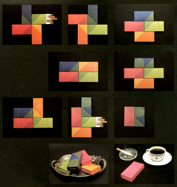 Grid of 10 photos featuring four colorful cigarette packs arranged into different shapes against a black background