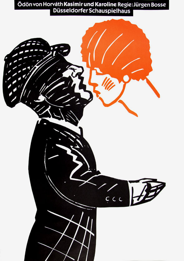 Black and white woodcut style man lifting his head up to kiss the floating visage of a woman in orange
