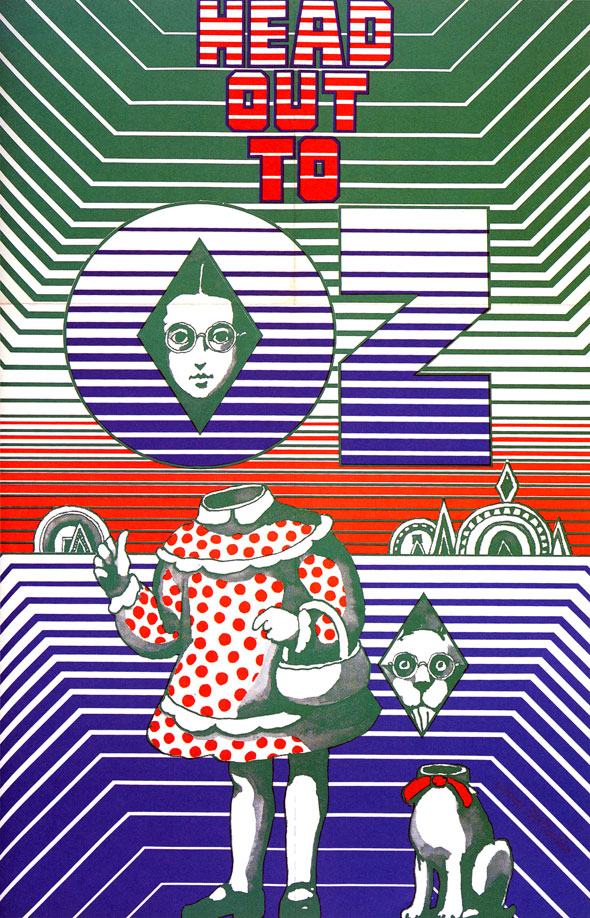 "Surreal red, green, blue illustration of a girl and her dog against a landscape. Their heads are floating away from their bodies and all colors are banded with white. Header text reads ""Head Out to Oz"""
