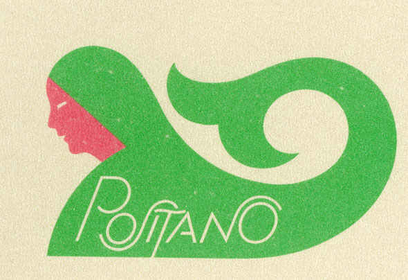 "An Illustration for a menu. The illustration is a line-less flare color side-view print of a woman. The woman is smiling and has pink skin, the rest of her torso and long hair is bright green. Her hair is long and flows upward in a small spiral. Within her torso and hair is ""Positano"" in thin white unique lettering. The lettering has the S and N in ""Positano"" curve on top of the letters next to it."