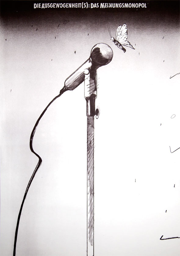 Black and white illustration of a butterfly speaking into a microphone