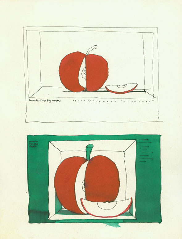 Color studies of a drawing of an apple with a slice cut out of it