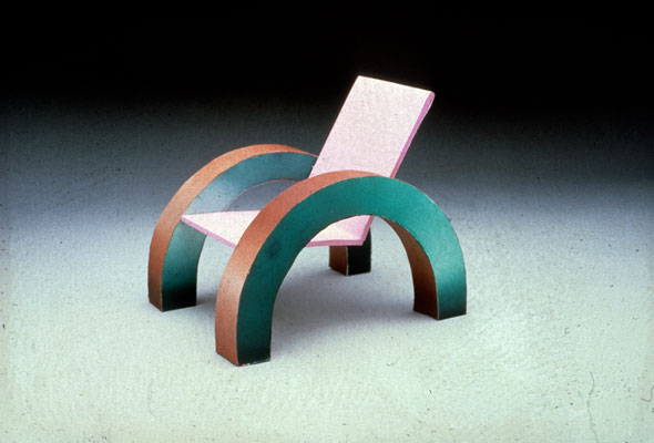 Photograph of a chair made of geometric shapes