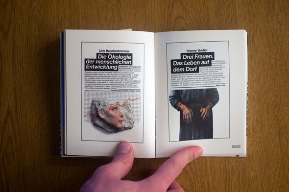 Flipbook opened to show a spread depicting two posters, left with a man's head against a grid chart, right with a closeup of a woman's hands