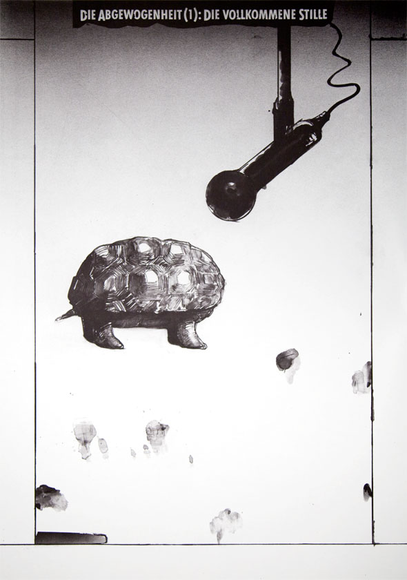 Black and white illustration of a turtle with a receded head talking into a microphone