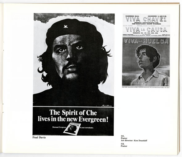 Two black and white posters; left depicts Che Guevara and reads The spirit of Che lives in the new Evergreen! right poster shows a woman and reads Viva la Huelga