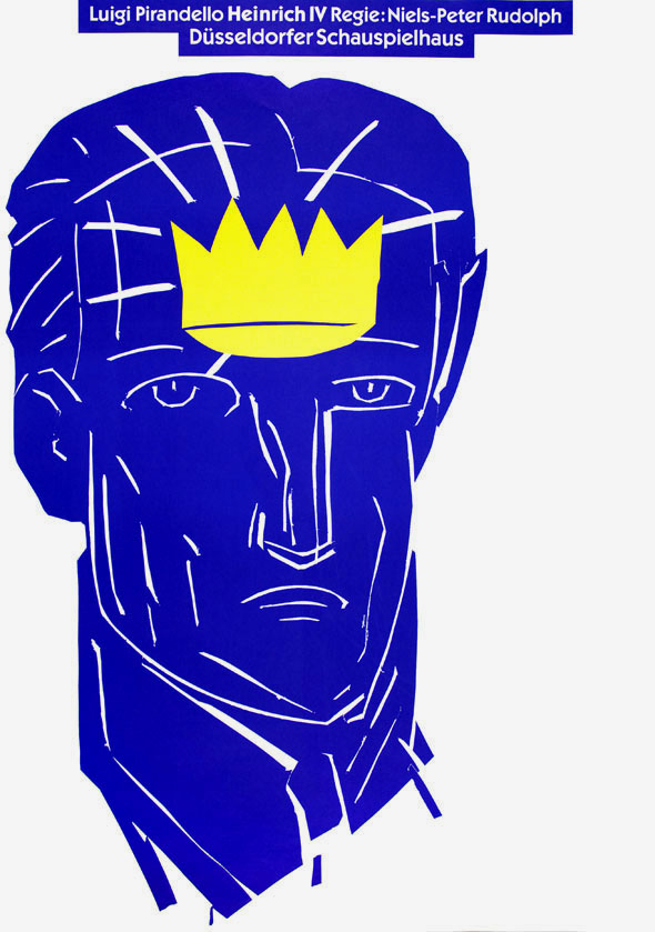 blue illustration of a mans head against a white background with a yellow crown in his forehead