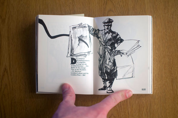 Flipbook opened to show a spread depicting a German soldier carrying posters