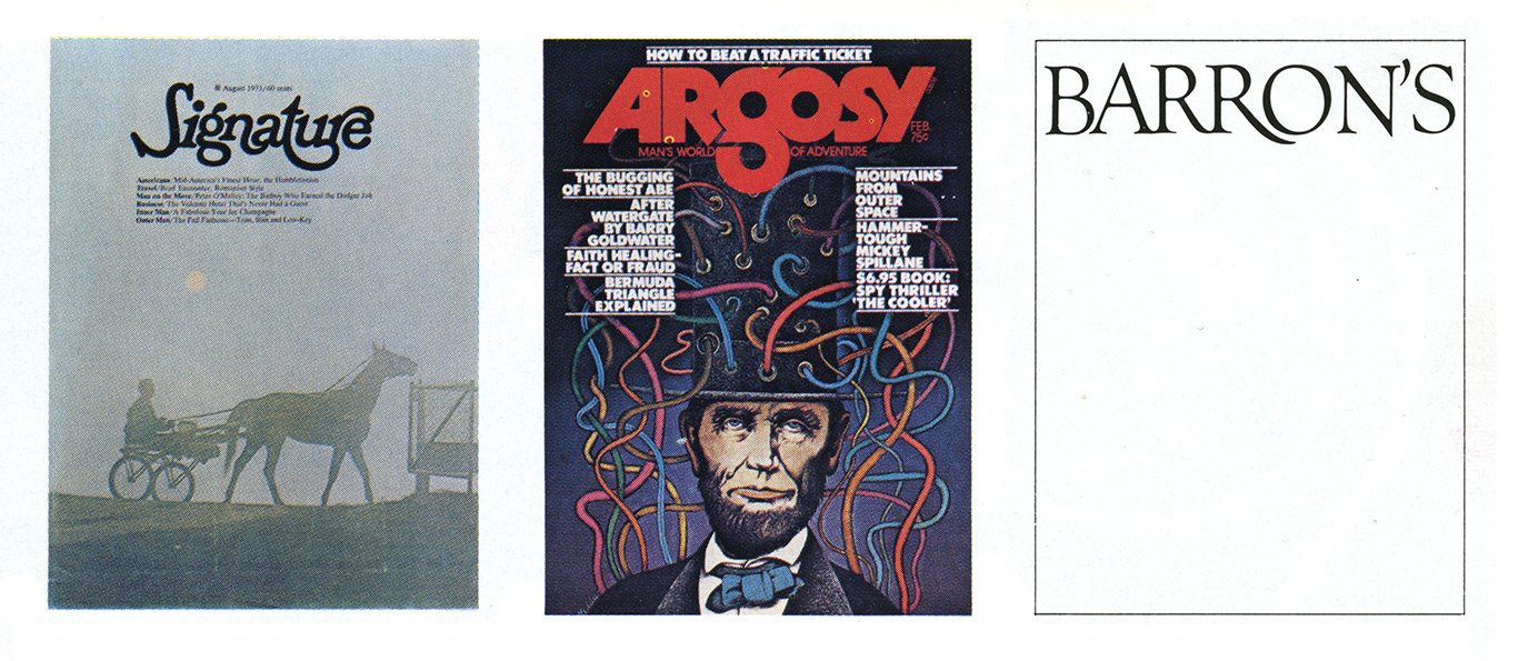 Three magazine covers featuring Ferriter logos, Signature, Argosy, and Barron's respectively