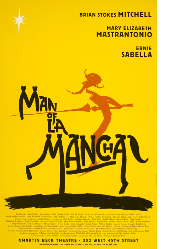 "A poster. Illustration of a stylized knight in red, looking at a white star in the yellow sky, while riding a black horse made out of text reading ""Man of La Mancha""."