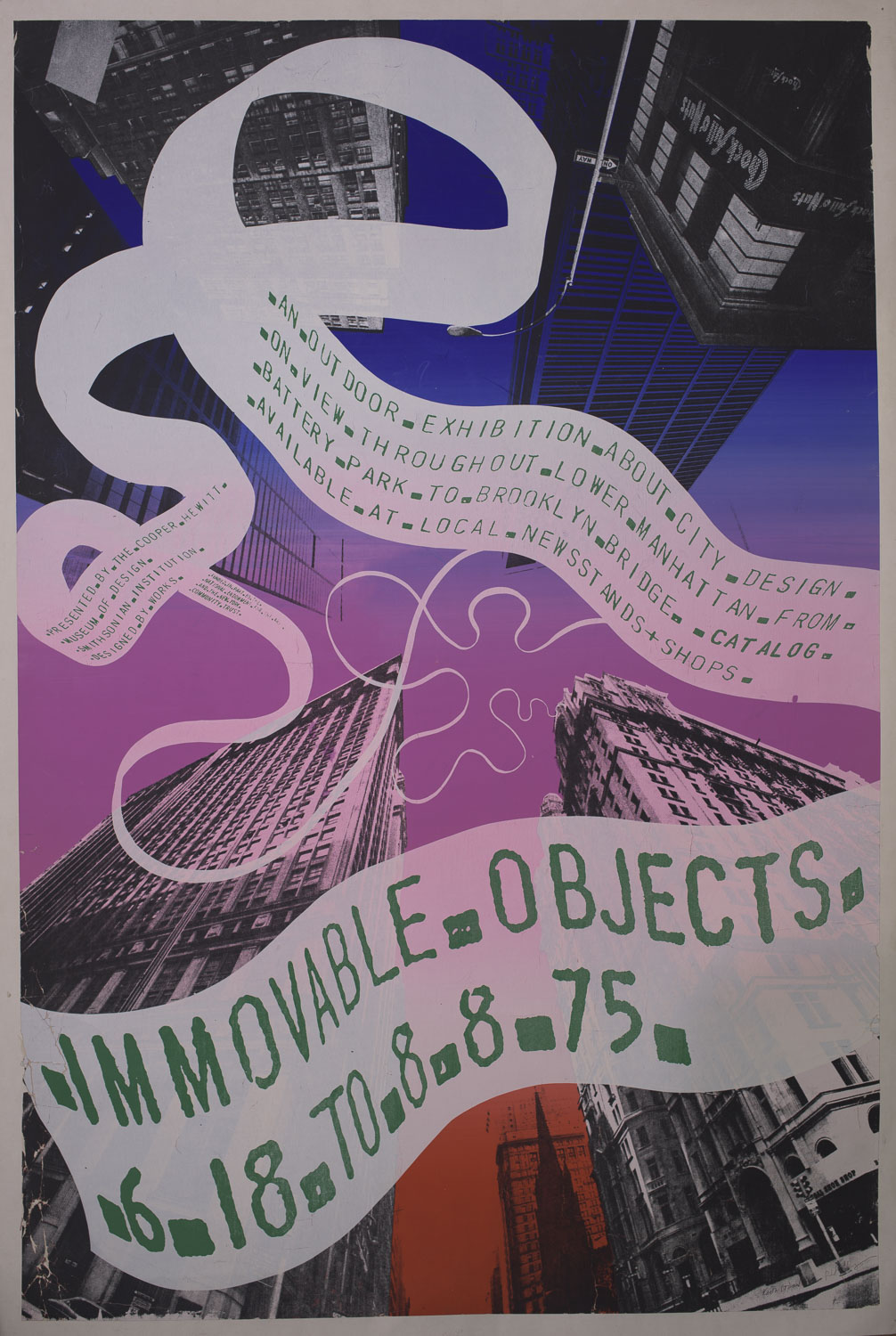 Poster for Immovable Objects exhibition, 1975.