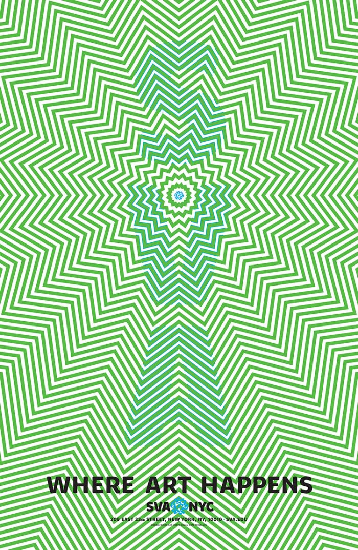 Green and white illusionary graphic that appears to be moving; SVA is spelled out vertically in light blue.