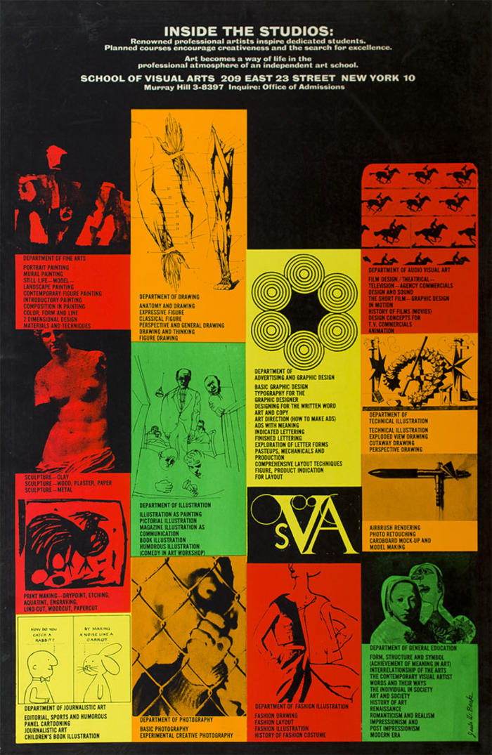 Grid of art against a black background, including fashion illustration, photography and cartoons, in orange, red, yellow and green.