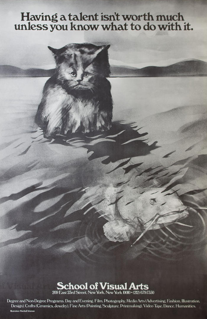 Black and white illustration of cat sitting in water as a large fish swims away.