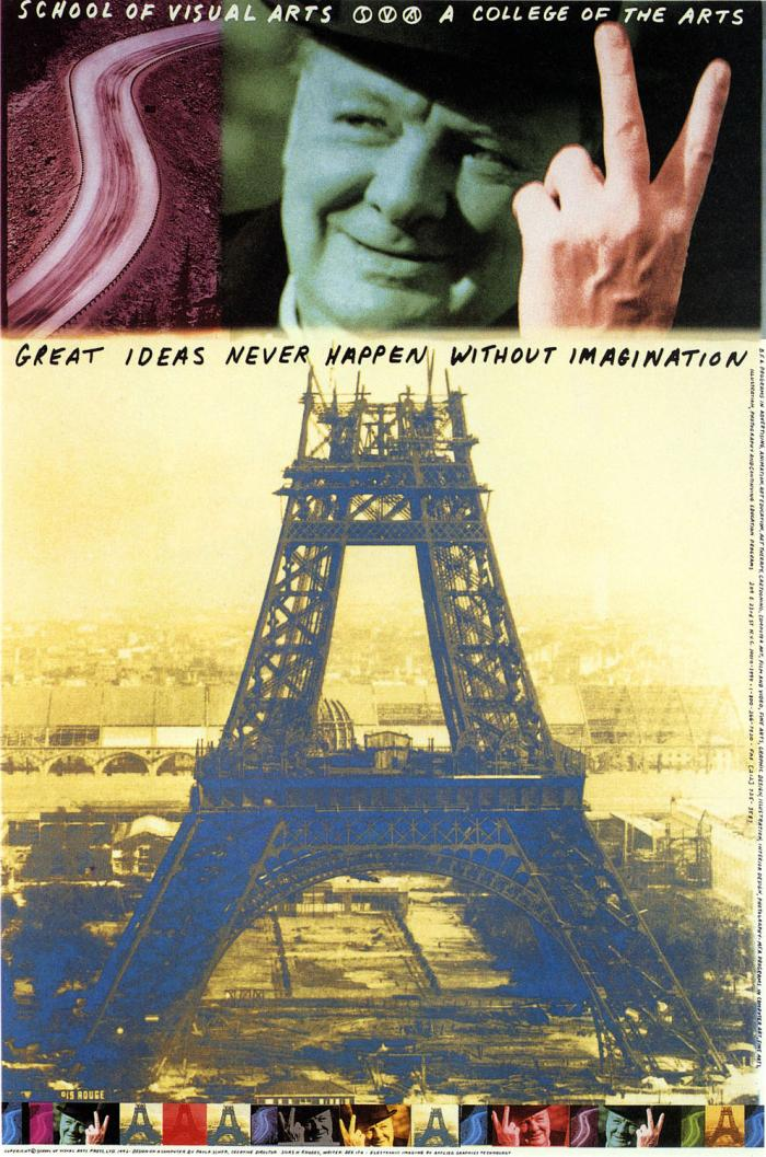Arrangement of images on top of each other; from left to right, a red tinted photo of a road, a green tinted photo of a man's face, and a large yellow-tinted photo of the Eiffel tower.
