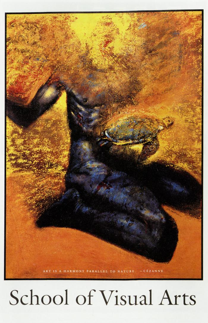 Painting of a dark blue, headless male figure against an orange and gold background; a turtle is visible floating above his lap.