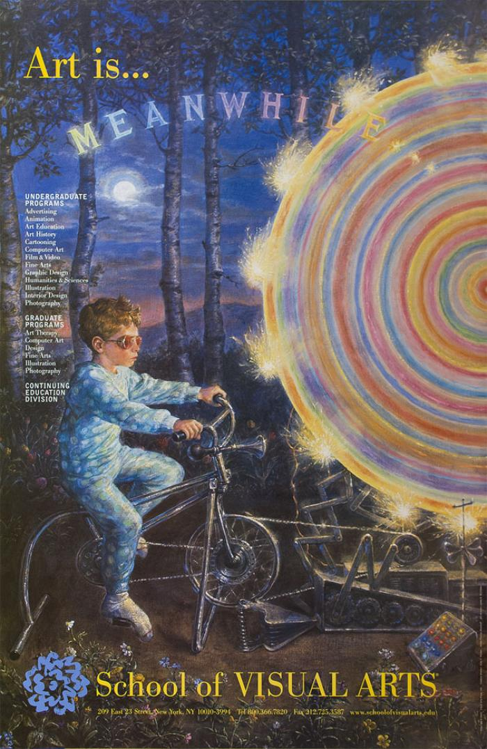 Realistic illustration of a boy in pajamas riding a stationary bike, in a forest, that operates a large colorful spinning wheel.