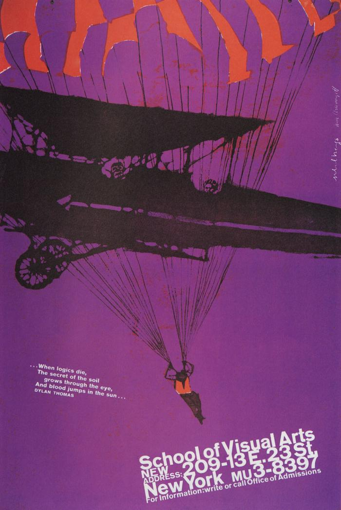 Purple and red illustration of someone parachuting out of a 1900s airplane.