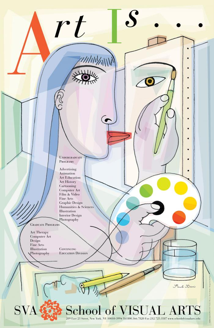 A pale, Piccaso-esque illustration of a female artist painting a picture.