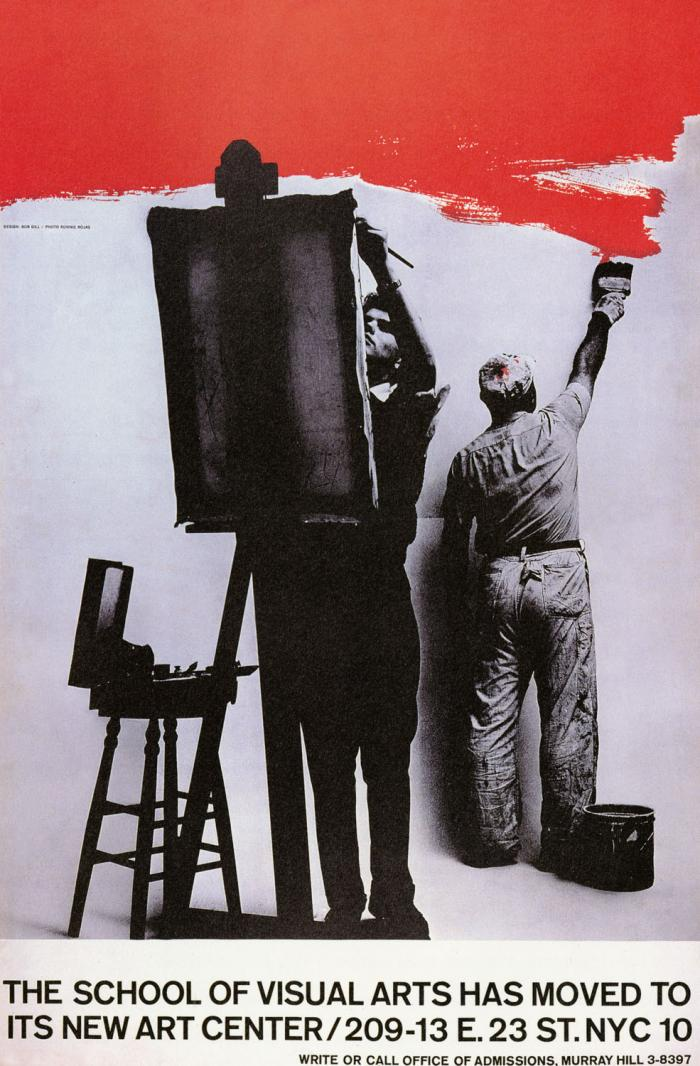 Black and white photograph of one man, facing the viewer and painting on an easel; a second man faces away from the viewer and paints the wall bright red.