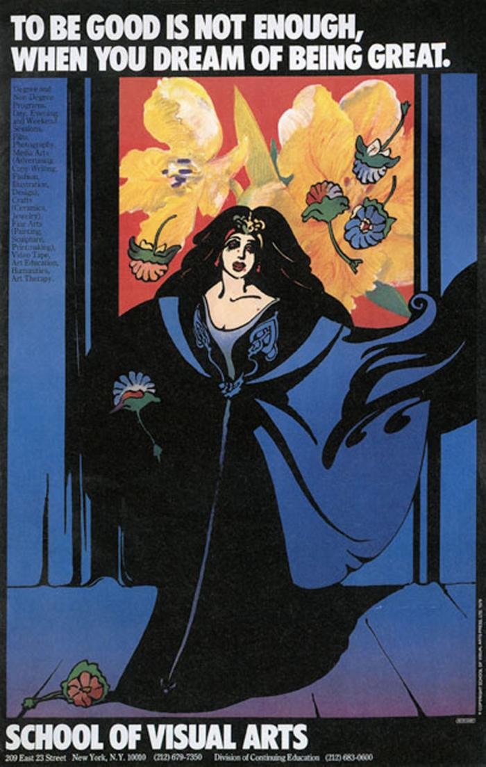 Primarily blue illustration of a female opera singer on stage, against a background of red and yellow flowers; more flowers are thrown at her feet.