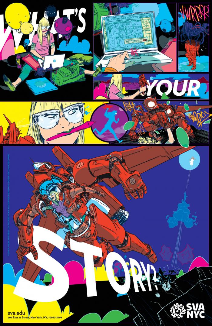 Colorful comic of a female cartoonist piloting a robot.