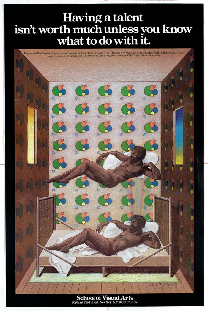 Color illustration of a nude man laying on top of a bed in a patterned room; an identical man floats above him.