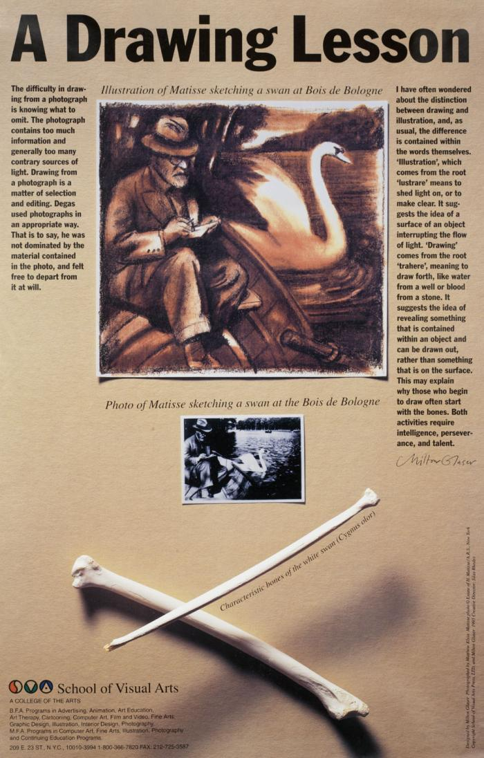 Photo of a page of text, also containing an illustration of Matisse drawing a swan, the corresponding photograph, and swan bones.