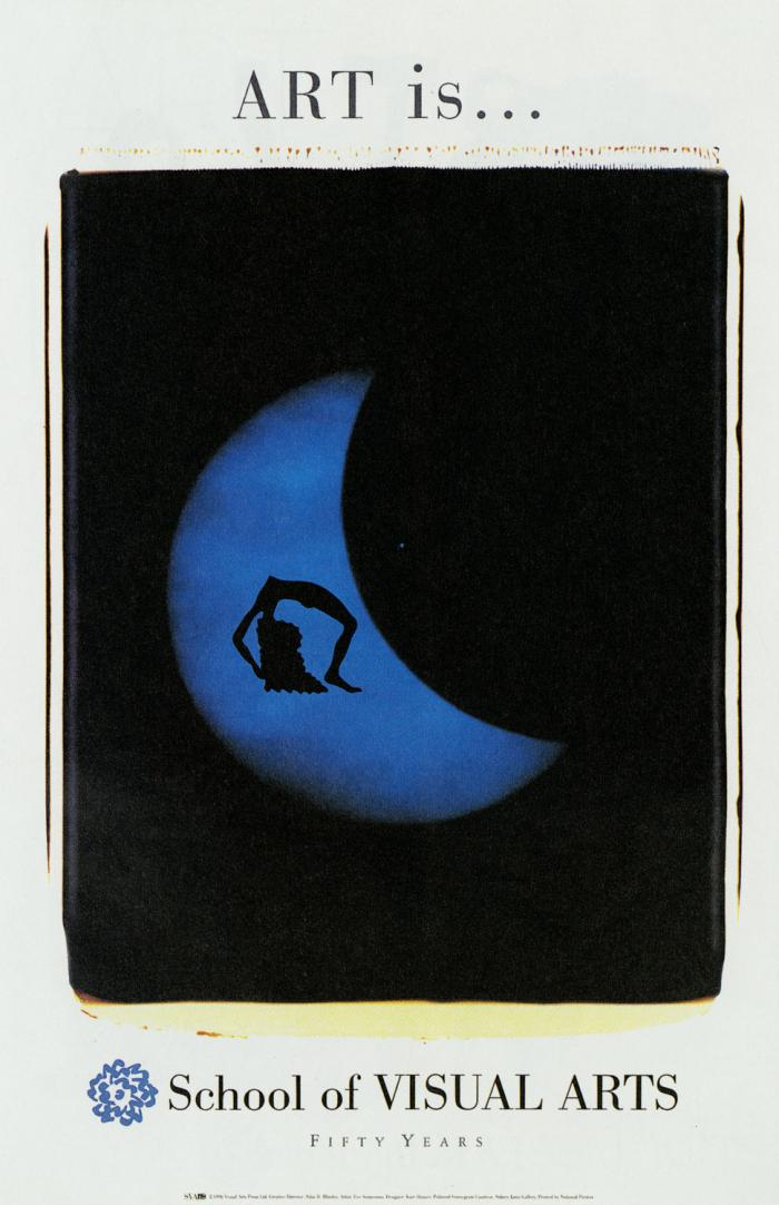 A translucent blue crescent moon against a blue background; the silhouette of a woman bending over backwards is visible.