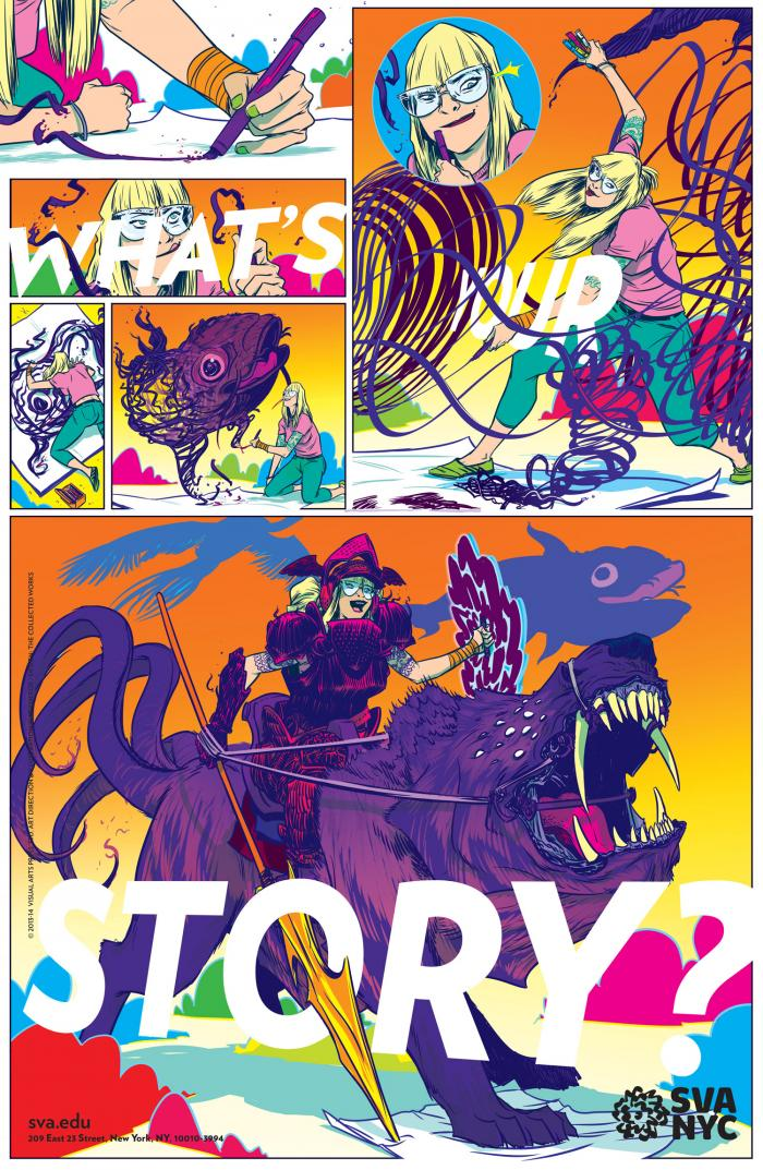 Colorful comic of a female cartoonist becoming a knight riding a monster.