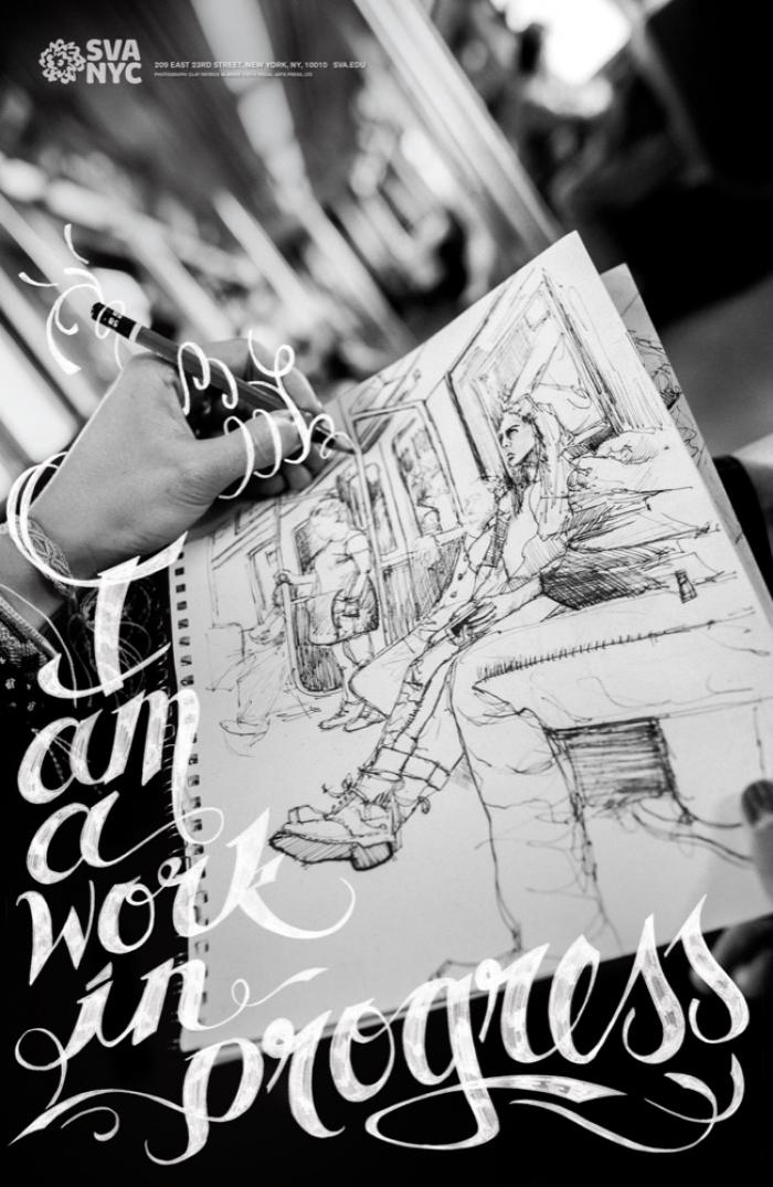 Black and white close-up photograph of a drawing being done on the subway. Text appears in white, cursive and hand-written.