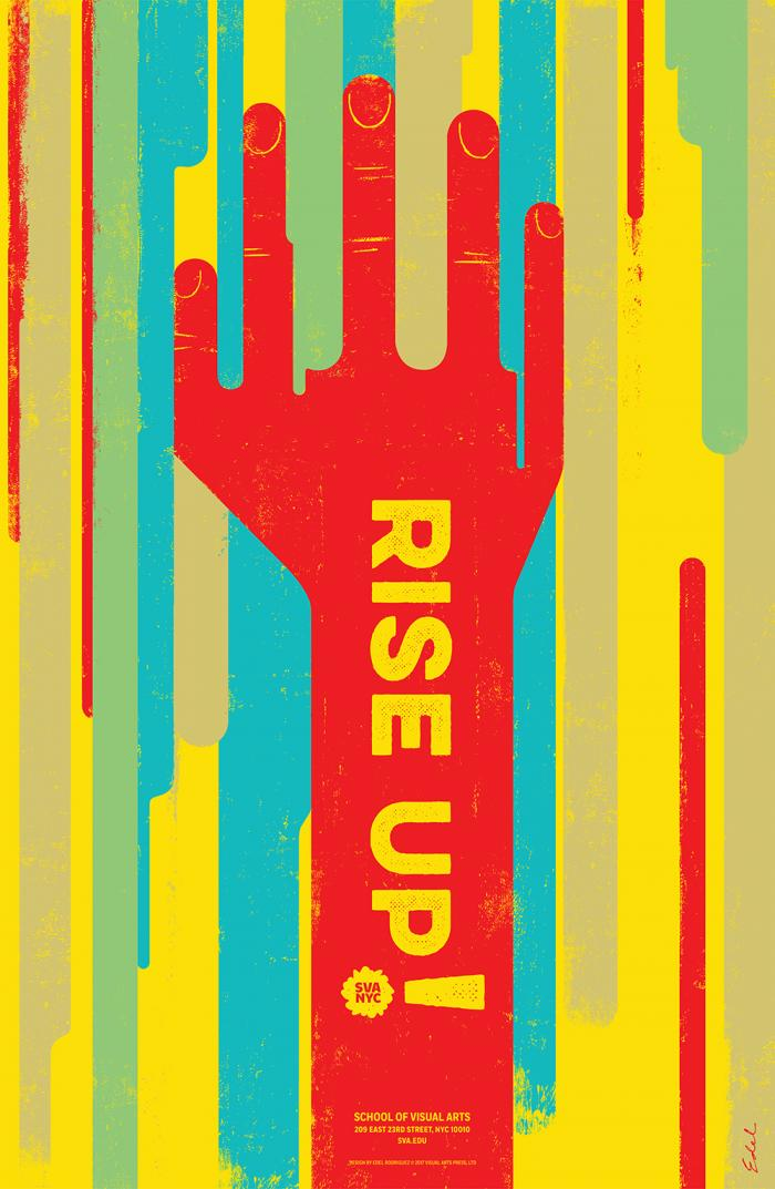 A stylized red hand reaches upward against a background of blue, red, yellow and green streaks. Text appears in yellow.