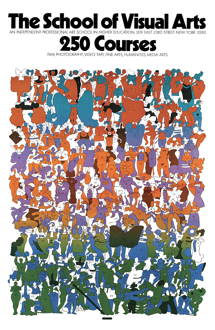 Cartoonish, colorful illustration of 250 small, unique costumed and nude figures.
