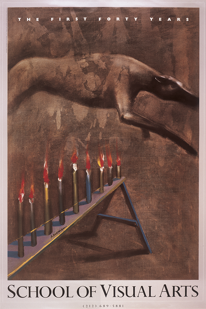 Painting (primarily brown) of a bull-like animal jumping over a row of lit candles on a narrow purple bench.