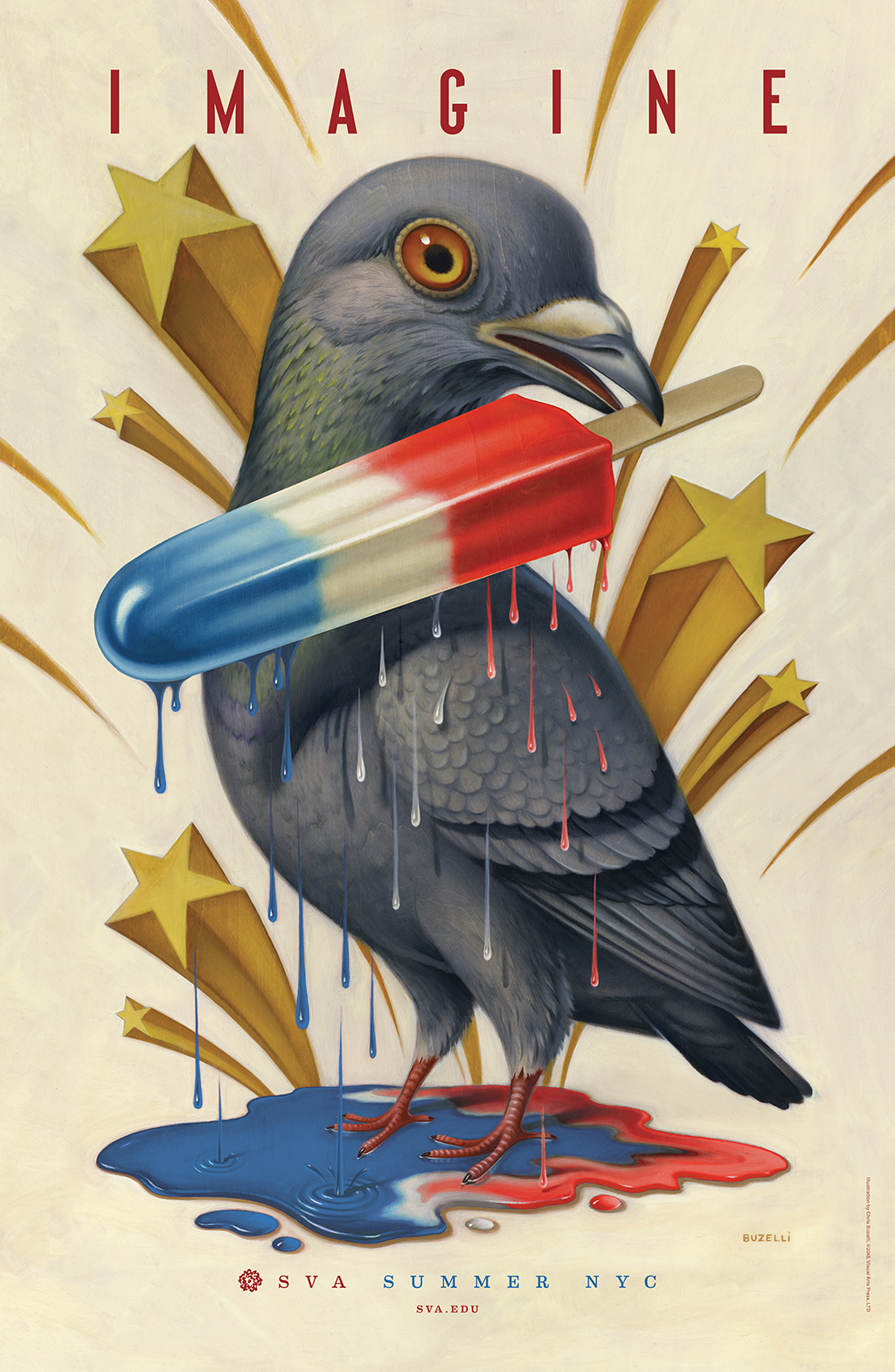 Color illustration of a grey pigeon holding a melting, red, white and blue popsicle in its beak. Background is white with yellow three-dimensional stars.