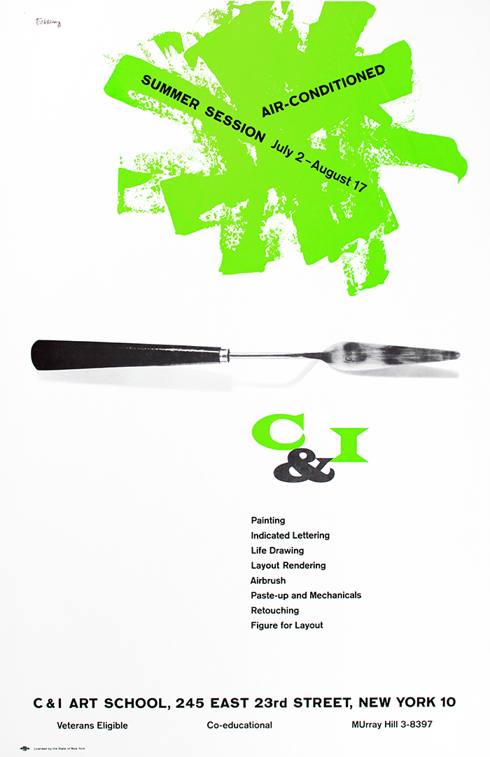 Underneath a neon green splatter of paint containing text, a photograph of a clean palette knife against a white background.