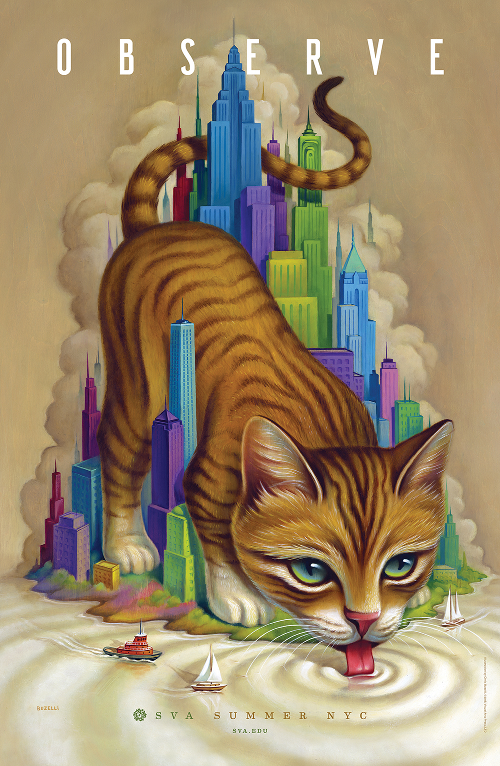 A giant orange tabby cat drinks water from a river/ocean, among a miniature colorful cityscape. Two small ships are visible.
