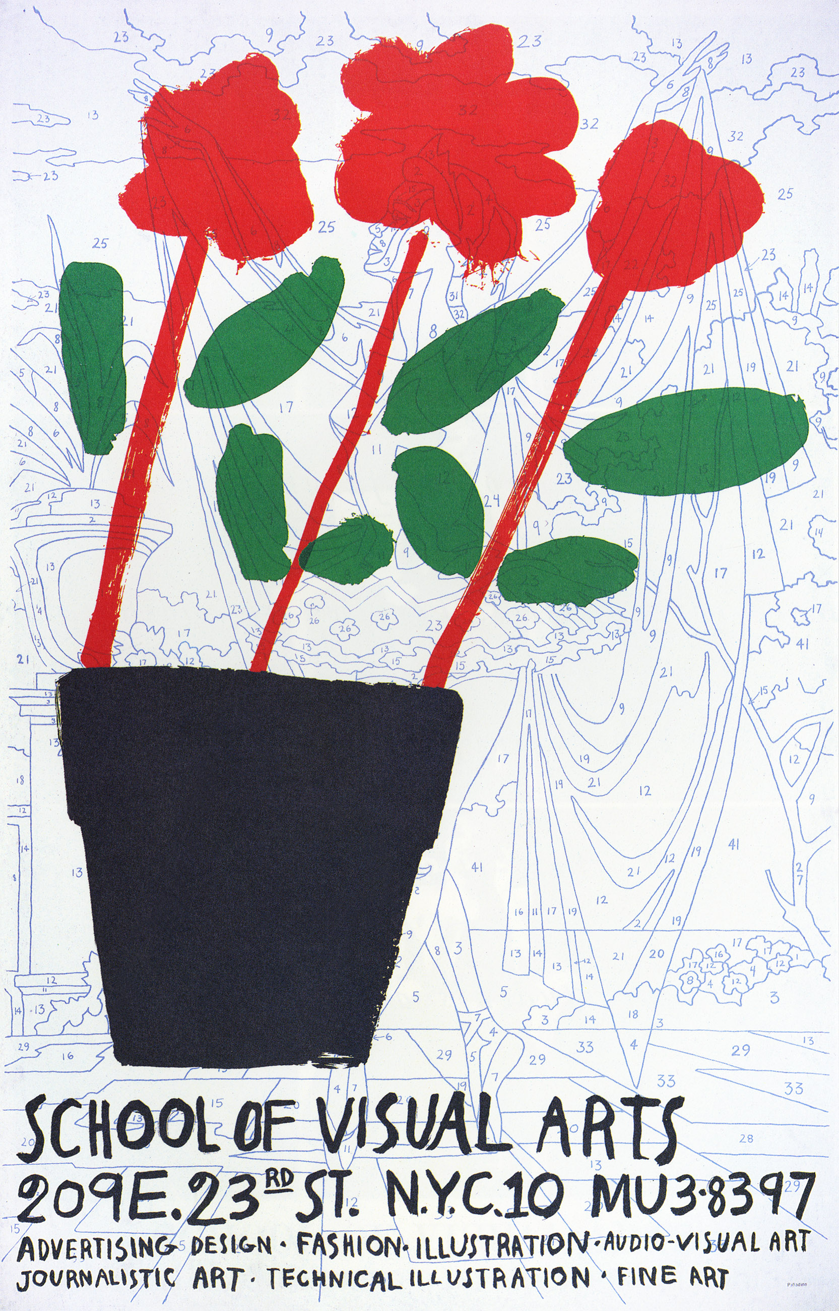 A simple geometric flowerpot with red flowers on red stems and green leaves against a blank color-by-numbers sheet of a ballerina.