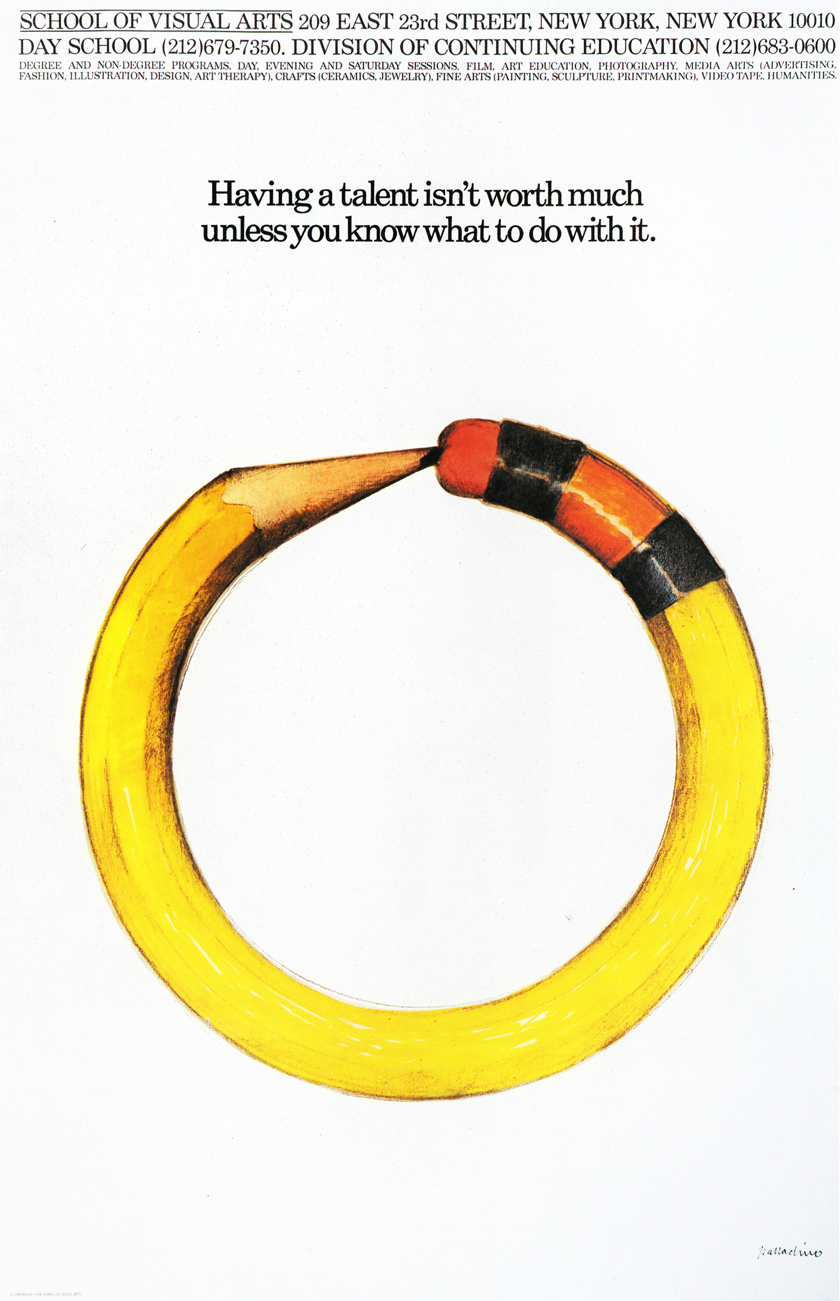 Color illustration of a pencil bent into a circle against a white background.