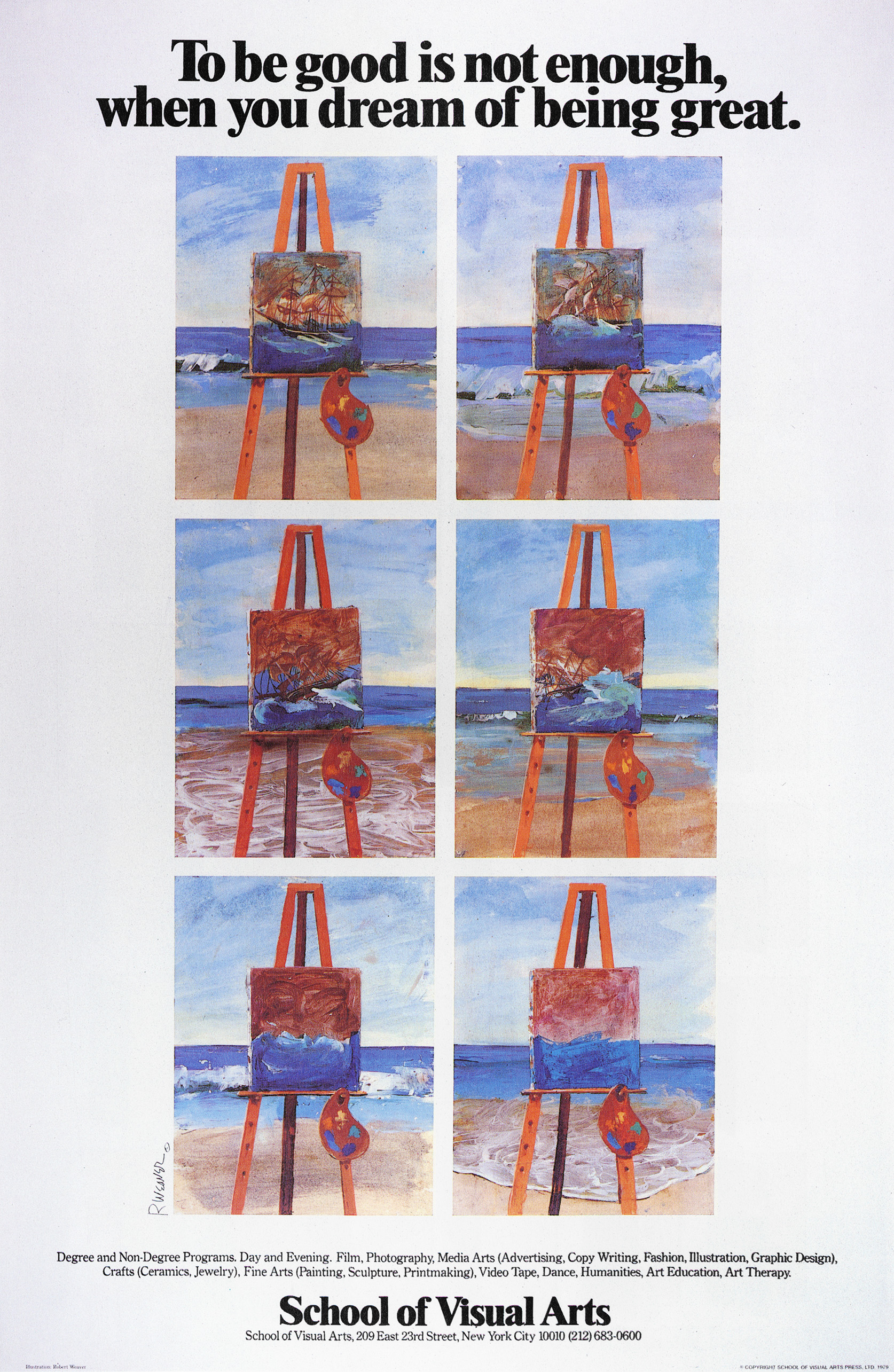 Color illustration of a grid of seemingly identical portraits of ships on easels on a beach, save for the boat sinking more in every frame, and the tides coming in and out.