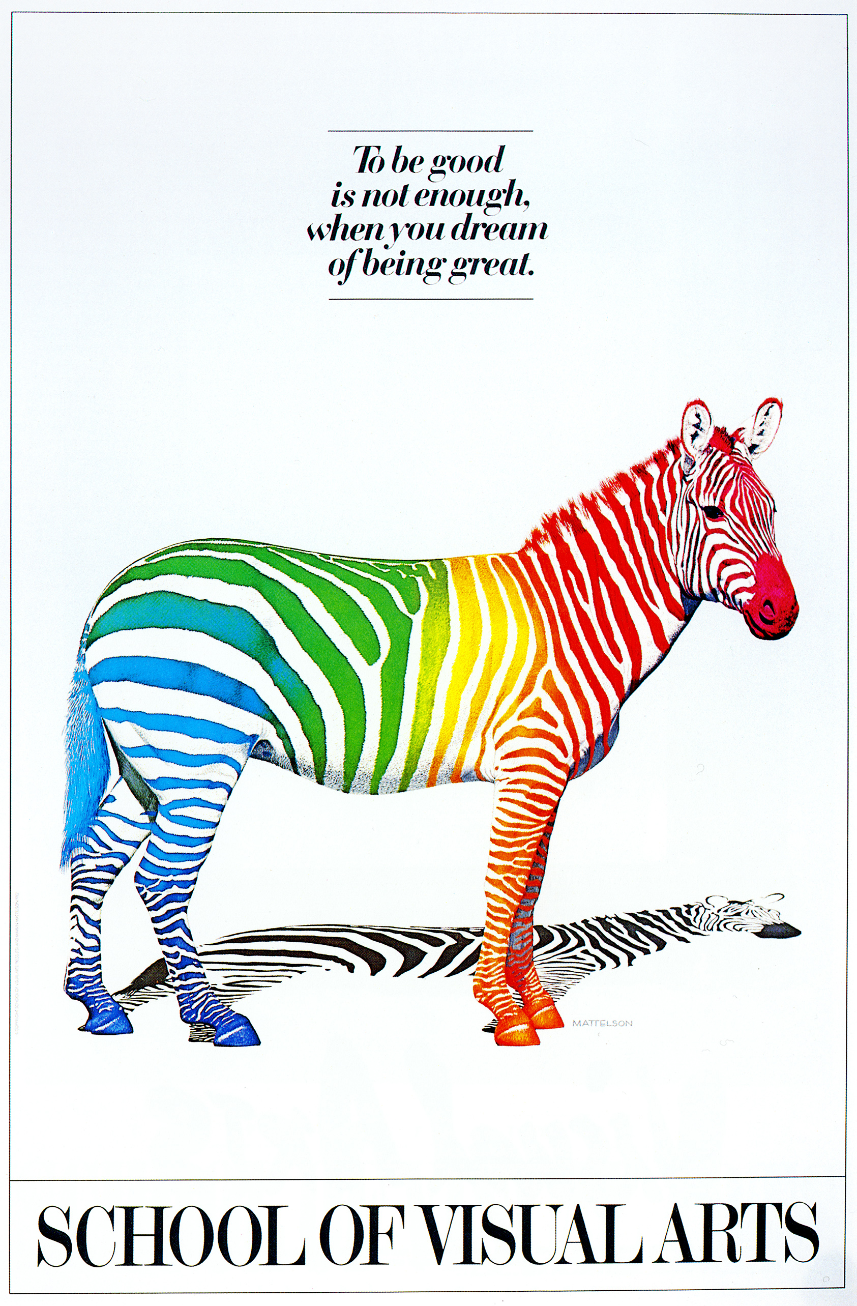 Realistic illustration of a zebra with rainbow stripes against a white background.