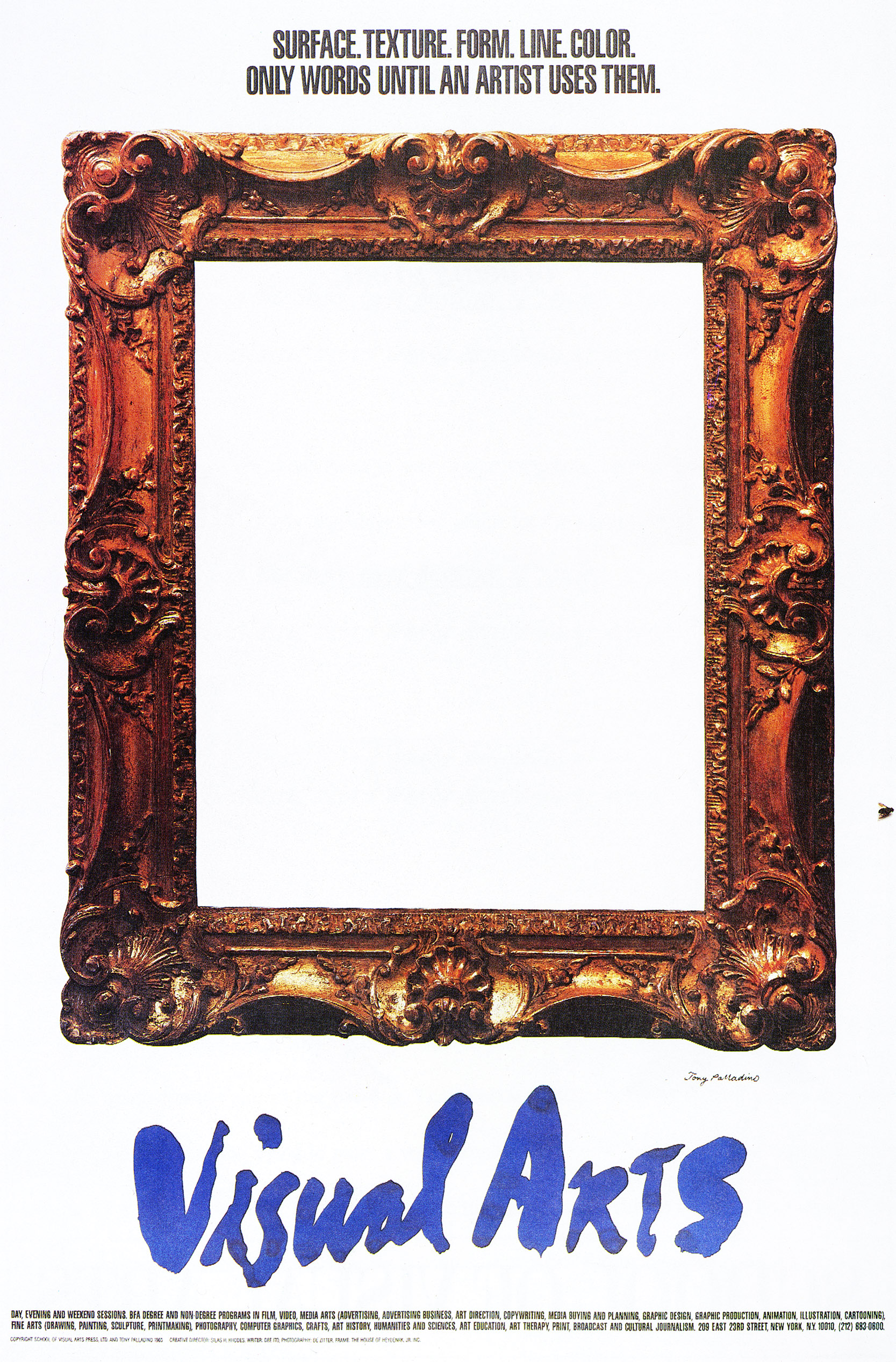 Photograph of an empty, ornate gold picture frame against a white background. Text is in blue brushwork.